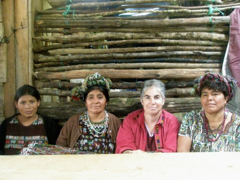 Laurie listens to women in Bisan, Guatemala give testimony