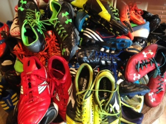 Shoes donated by Wembley Soccer shop and Fred Bourque